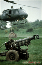 1993-Ardent-Ground, NATO AMF exercise, Bell UH 1-D, artillery.
